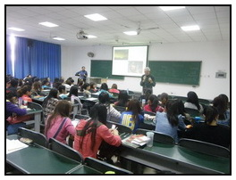 Presenting a lecture on Canadian culture at Sichuan Normal University 2013